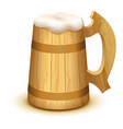 full wooden beer mug with thick white foam vector image vector image