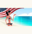 girl in bikini with waving usa flag 4th july vector image