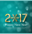 golden new year 2017 concept on turquoise blurry vector image vector image