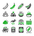 green pea icon set vector image vector image