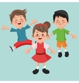 Group of happy boys and girls cartoon kids vector image