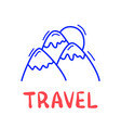 hand draw doodle mountain and sun travel icon vector image vector image