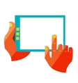 hand touch screen on digital tablet vector image