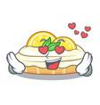 in love cartoon piece of yummy lemon meringue pie vector image vector image