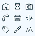 interface icons line style set with sandglass vector image vector image