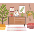 interior of comfy room with table and cat sitting vector image vector image