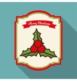 Leaves and holy berry of Merry Christmas design vector image
