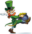 leprechaun stealing pot of golden coins vector image vector image