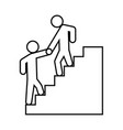 man helping climb other man black icon vector image vector image