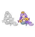 mermaid with purple gradient hair stroking two vector image vector image