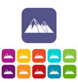 mountains with snow icons set vector image vector image