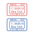 new york usa passport stamps arrival by plane vector image