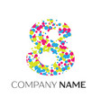 number eight logo with blue yellow red particles vector image