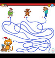 path maze game with animal characters vector image vector image