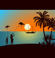 people with kites on tropical beach vector image vector image