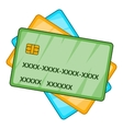 Plastic cards icon cartoon style vector image vector image