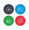 Radio retro phone and pc case icons vector image