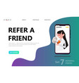 refer a friend concept woman people shout vector image vector image