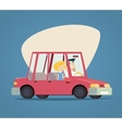 Retro Cartoon Car Happy Male and Female Characters vector image