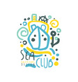 sea club logo design with ship or yacht floating vector image