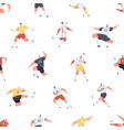 seamless pattern with footballers playing soccer vector image
