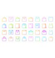 shopping bag simple color line icons set vector image vector image