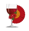 spanish fan with wine cup vector image vector image