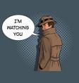 spy in raincoat and hat pop art vector image vector image