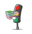 student with book traffic light character cartoon vector image vector image