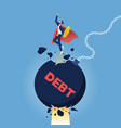 super businessman punch cracked big debt vector image