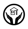 symbolic conceptual image of the house and hands vector image vector image