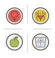 Weight loss diet color icons set vector image