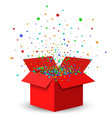 Open Red Gift Box and Confetti vector image