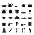 kitchen dishes icons set in simple style vector image