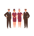 aircraft captain pilot assistant and stewardesses vector image vector image