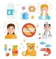 Allergy icon flat set isolated vector image