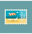 Beach chaise lounge with umbrella stamp Vacation vector image