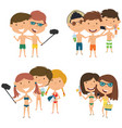 beach male and female characters make a selfie vector image