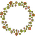 beautiful wreath with different decorative flowers vector image