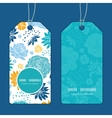 blue and yellow flowersilhouettes vertical round vector image vector image
