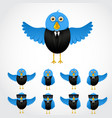 blue cartoon business bird vector image