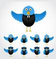 blue cartoon business bird vector image vector image