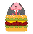 boss burger thick fat director office leader vector image vector image