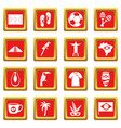 brazil travel symbols icons set red vector image vector image
