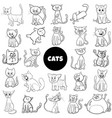 cartoon cat characters large set color book page vector image vector image