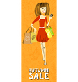 caucasian shopping girl character vector image