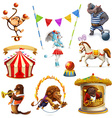 circus funny animals set icons mesh vector image vector image
