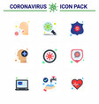 coronavirus 9 flat color icon set on theme vector image vector image