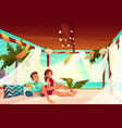 couple relaxing in terrace on beach cartoon vector image vector image