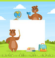 cute brown bears with blank banner and school vector image vector image